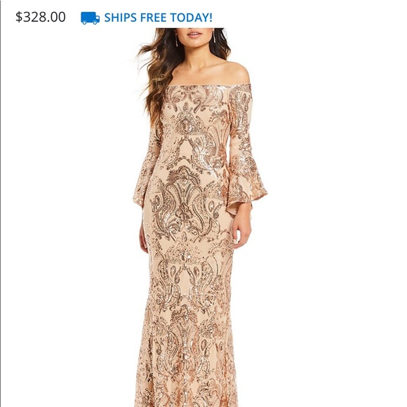 Betsy & Adam Dresses & Skirts - Sequined Off-Shoulder Flutter Sleeve Gown